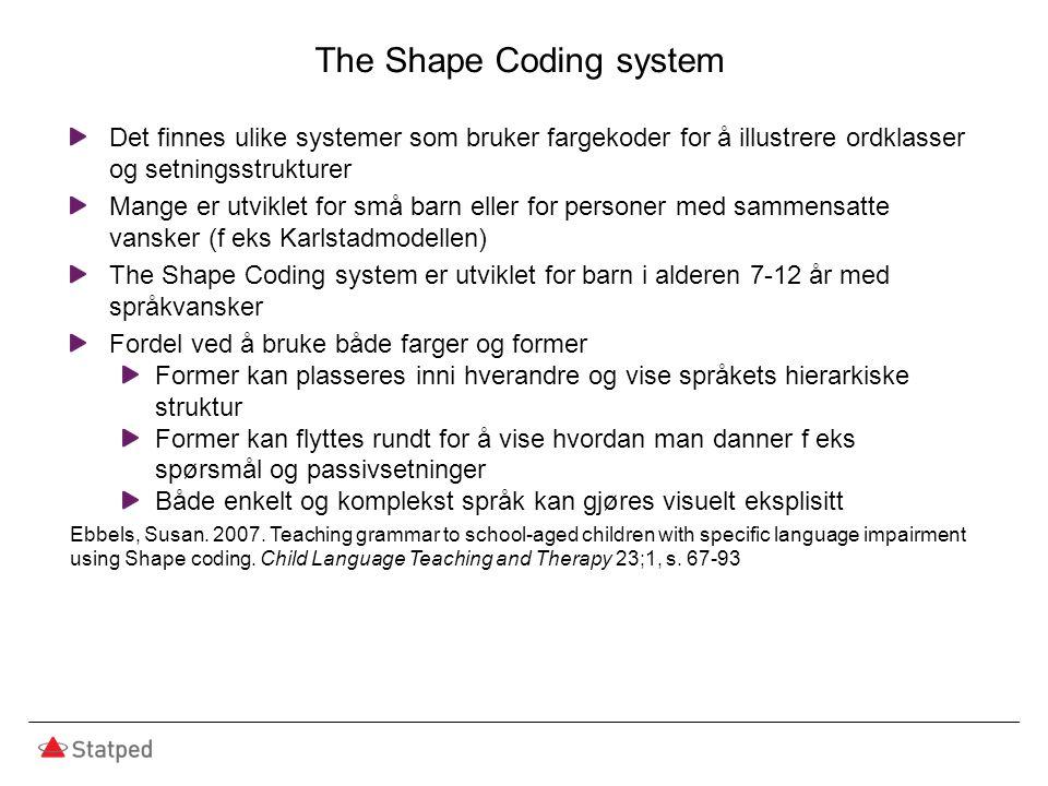 The Shape Coding system Det finnes ulike systemer som bruker fargekoder for å illustrere ordklasser og setningsstrukturer Mange er utviklet for små ba