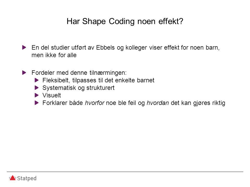 Har Shape Coding noen effekt.