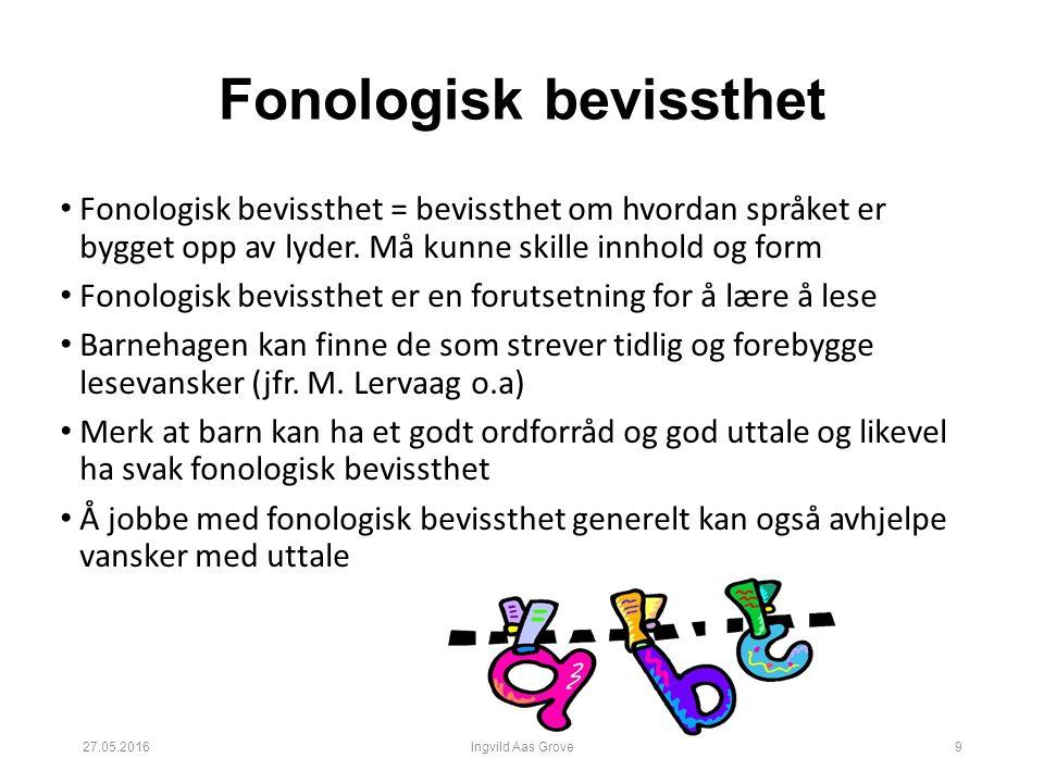 Fonologisk bevissthet Fonologisk bevissthet = bevissthet om hvordan språket er bygget opp av lyder.