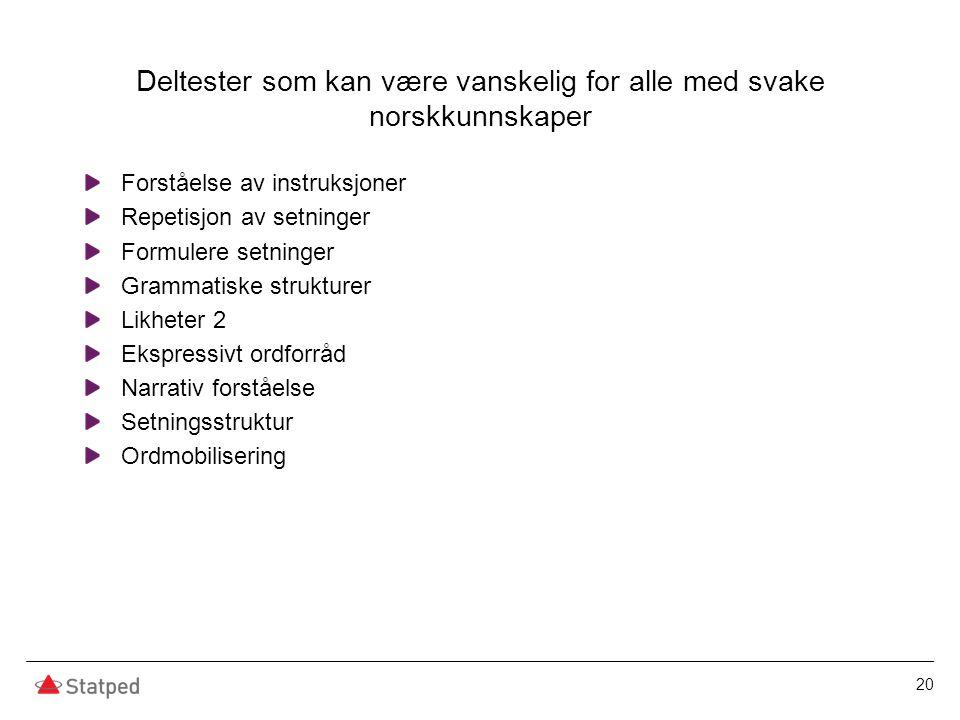 Deltester som kan være vanskelig for alle med svake norskkunnskaper Forståelse av instruksjoner Repetisjon av setninger Formulere setninger Grammatisk