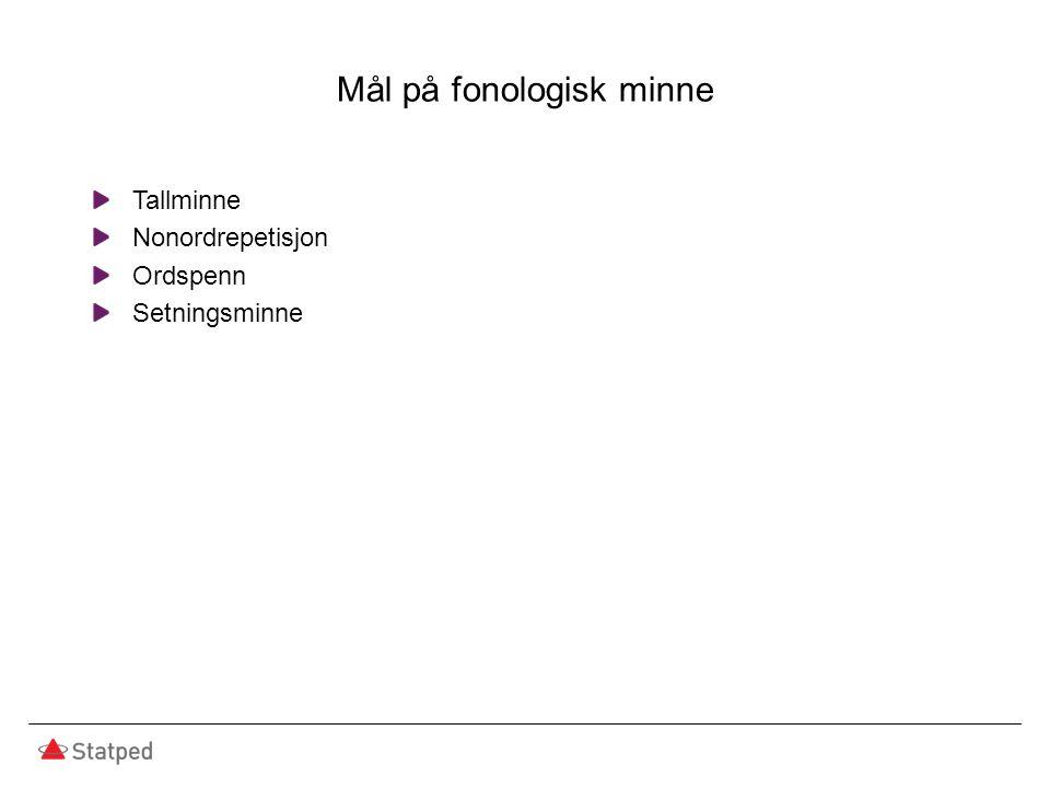 Mål på fonologisk minne Tallminne Nonordrepetisjon Ordspenn Setningsminne