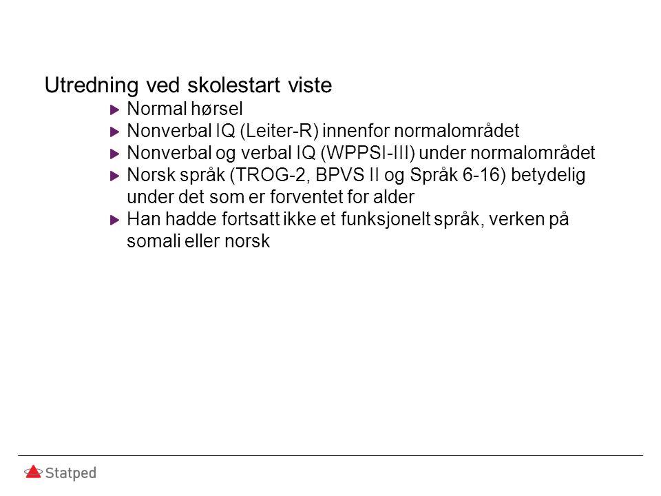 Utredning ved skolestart viste Normal hørsel Nonverbal IQ (Leiter-R) innenfor normalområdet Nonverbal og verbal IQ (WPPSI-III) under normalområdet Norsk språk (TROG-2, BPVS II og Språk 6-16) betydelig under det som er forventet for alder Han hadde fortsatt ikke et funksjonelt språk, verken på somali eller norsk