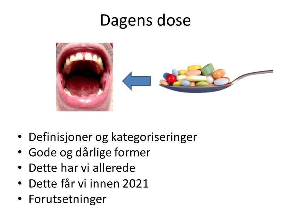 Dagens dose Definisjoner og kategoriseringer Gode og dårlige former Dette har vi allerede Dette får vi innen 2021 Forutsetninger