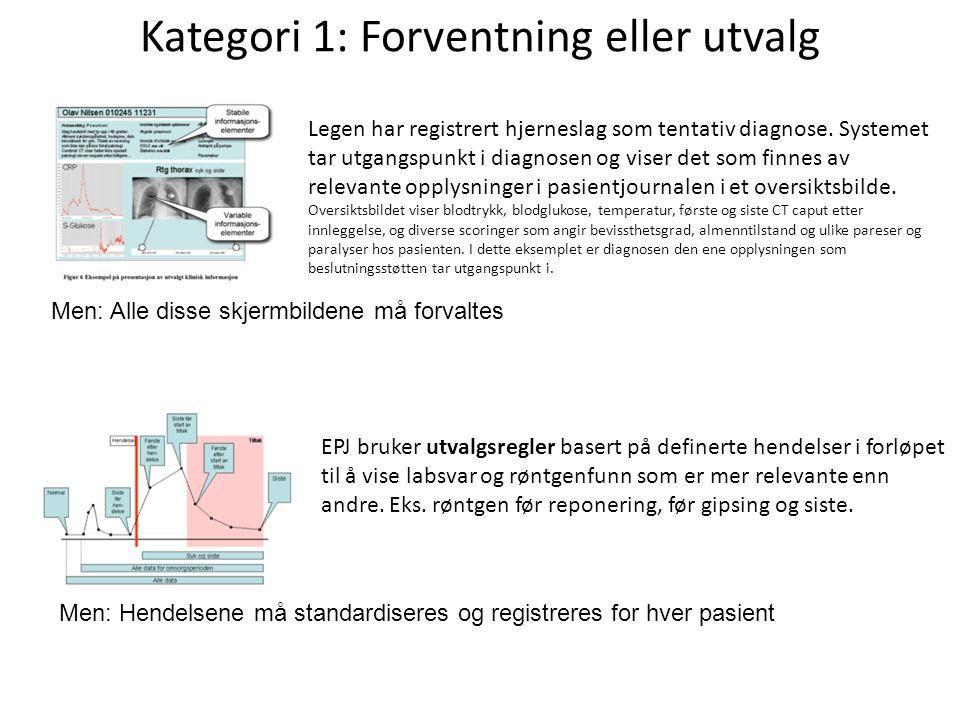 Kategori 1: Forventning eller utvalg Legen har registrert hjerneslag som tentativ diagnose.
