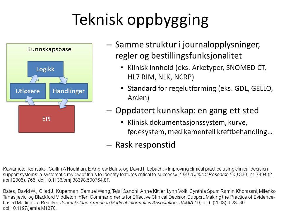 Kunnskapsbase Teknisk oppbygging – Samme struktur i journalopplysninger, regler og bestillingsfunksjonalitet Klinisk innhold (eks.