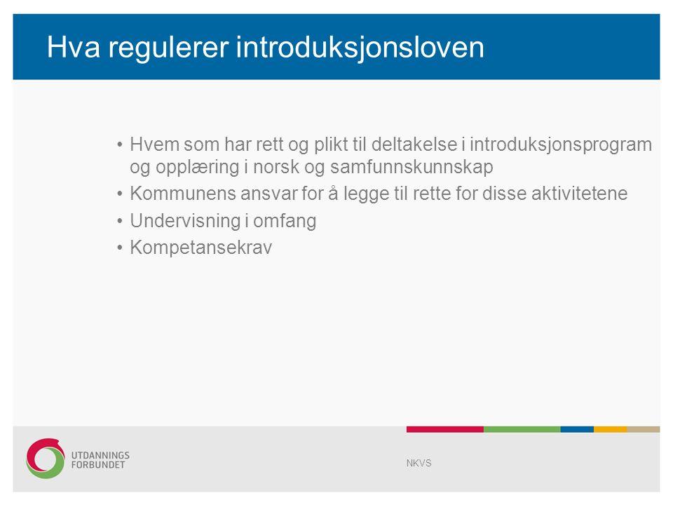 Hva regulerer introduksjonsloven Hvem som har rett og plikt til deltakelse i introduksjonsprogram og opplæring i norsk og samfunnskunnskap Kommunens ansvar for å legge til rette for disse aktivitetene Undervisning i omfang Kompetansekrav NKVS
