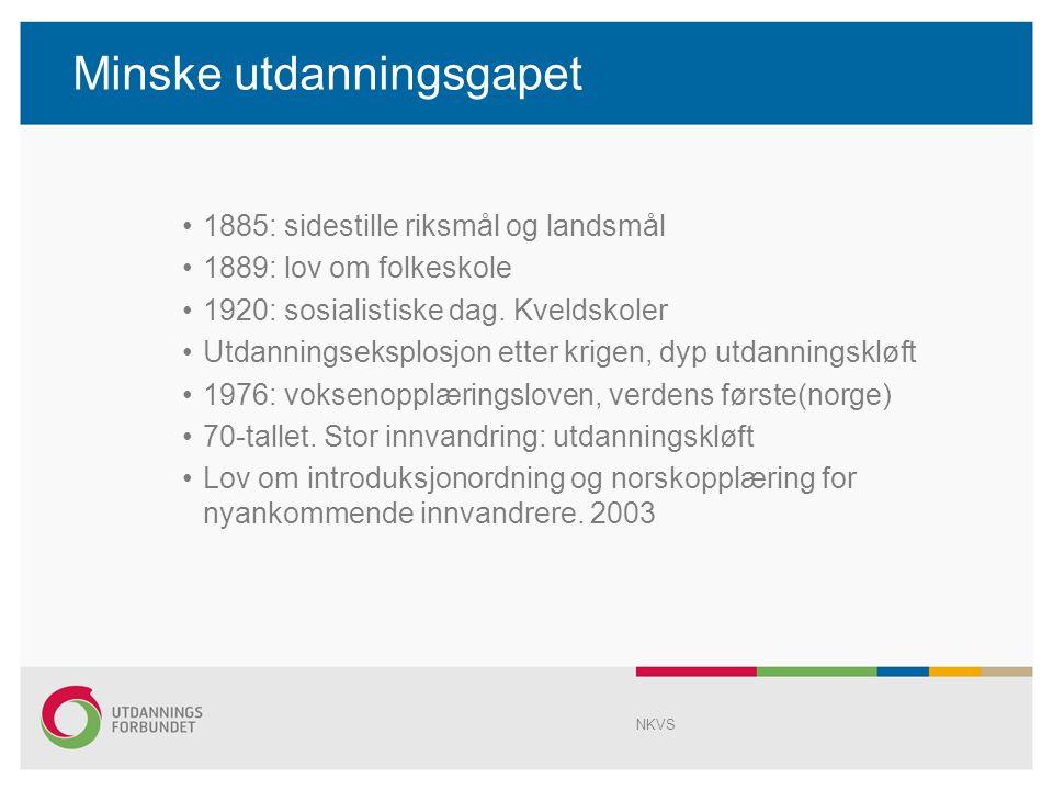 Minske utdanningsgapet 1885: sidestille riksmål og landsmål 1889: lov om folkeskole 1920: sosialistiske dag.