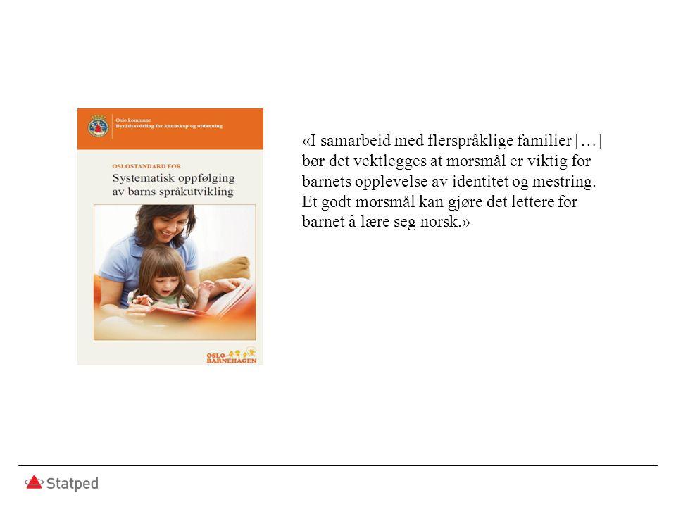 «I samarbeid med flerspråklige familier […] bør det vektlegges at morsmål er viktig for barnets opplevelse av identitet og mestring. Et godt morsmål k