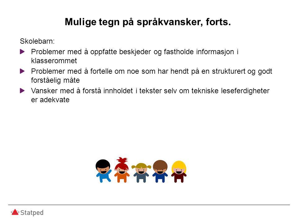 Mulige tegn på språkvansker, forts. Skolebarn: Problemer med å oppfatte beskjeder og fastholde informasjon i klasserommet Problemer med å fortelle om