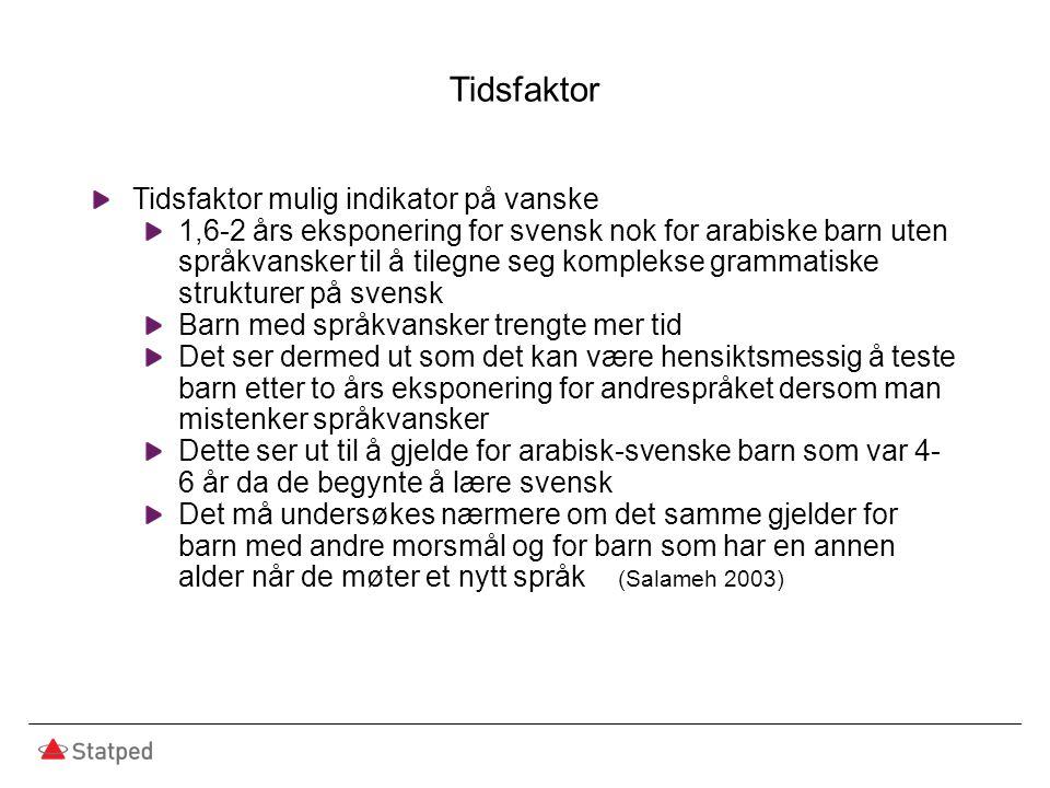 Tidsfaktor Tidsfaktor mulig indikator på vanske 1,6-2 års eksponering for svensk nok for arabiske barn uten språkvansker til å tilegne seg komplekse g