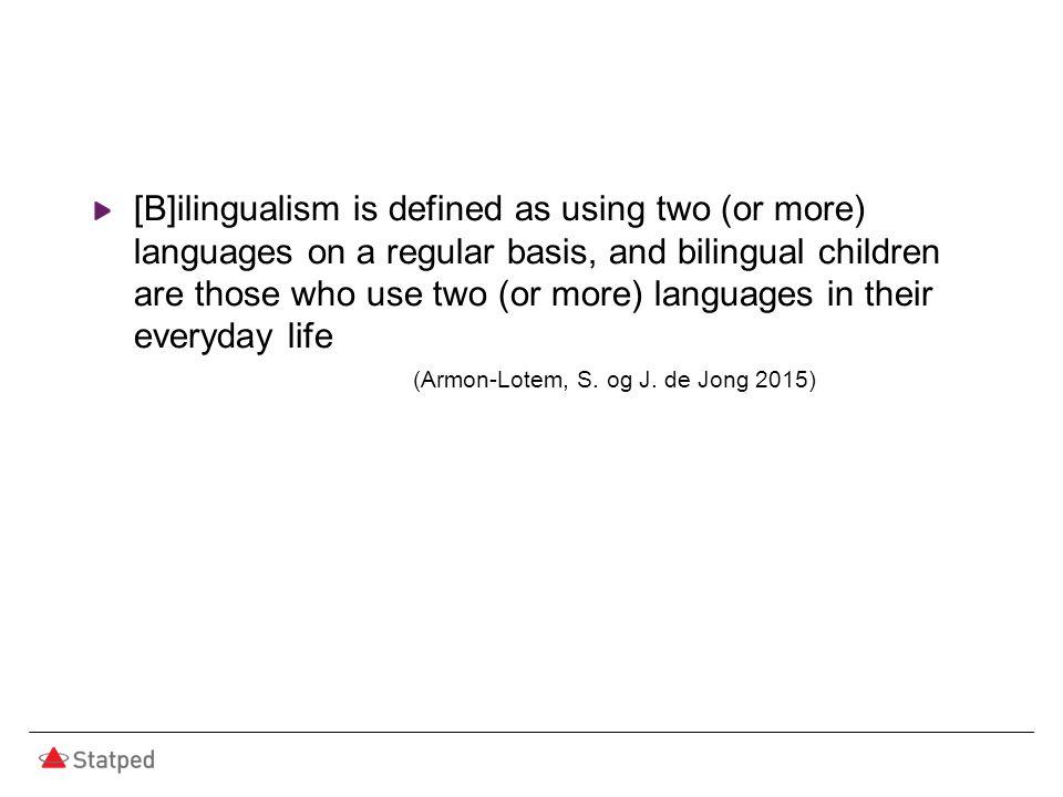 Forekomst, flerspråklige Forekomsten av språkvansker bør være tilnærmet lik hos enspråklige og flerspråklige barn Eksempel fra Nederland: Andel flerspråklige elever i vanlige skoler: 14 % Andel flerspråklige elever i spesialskoler for språkvansker: 24 % (de Jong et al 2010) Grunnskolen i Oslo skoleåret 2014/15 Andel flerspråklige elever totalt: 40,1 % Blindernveien skole: 74 % (Tall fra Utdanningsetaten i Oslo kommune)