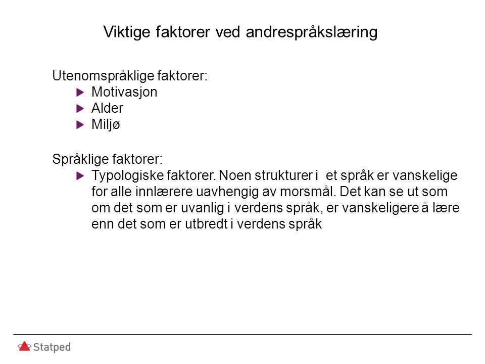 Viktige faktorer ved andrespråkslæring Utenomspråklige faktorer: Motivasjon Alder Miljø Språklige faktorer: Typologiske faktorer. Noen strukturer i et