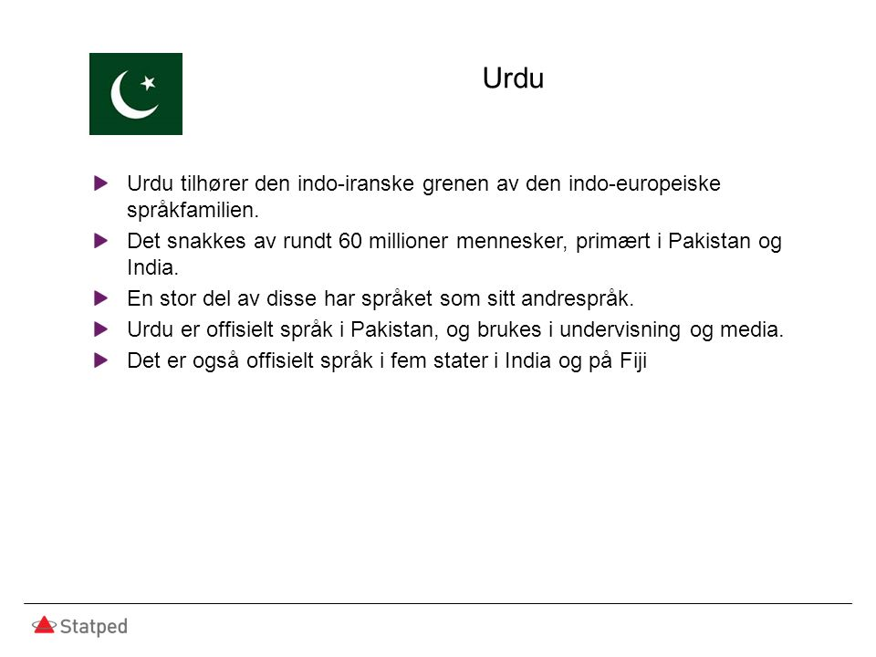 Urdu Urdu tilhører den indo-iranske grenen av den indo-europeiske språkfamilien. Det snakkes av rundt 60 millioner mennesker, primært i Pakistan og In