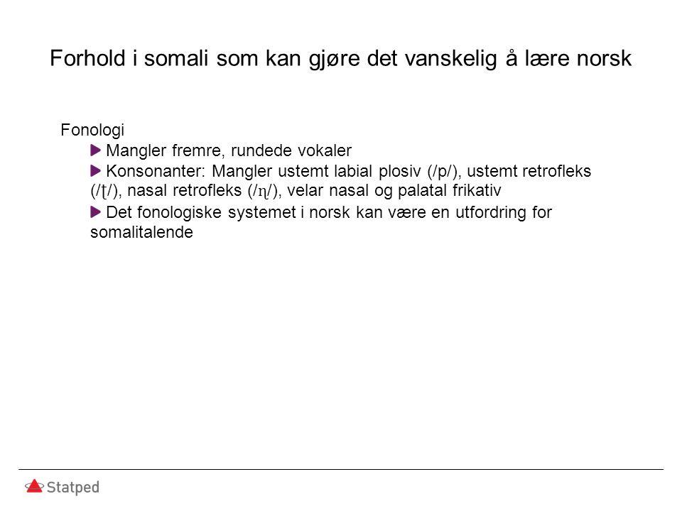 Forhold i somali som kan gjøre det vanskelig å lære norsk Fonologi Mangler fremre, rundede vokaler Konsonanter: Mangler ustemt labial plosiv (/p/), ustemt retrofleks (/ ʈ /), nasal retrofleks (/ ɳ /), velar nasal og palatal frikativ Det fonologiske systemet i norsk kan være en utfordring for somalitalende