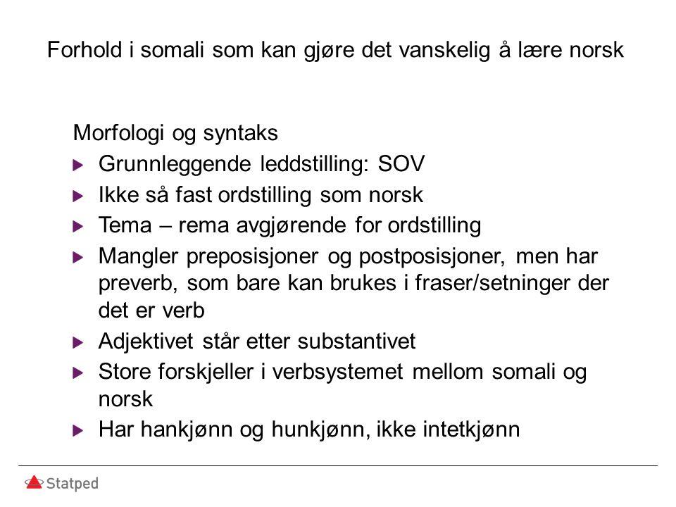 Forhold i somali som kan gjøre det vanskelig å lære norsk Morfologi og syntaks Grunnleggende leddstilling: SOV Ikke så fast ordstilling som norsk Tema