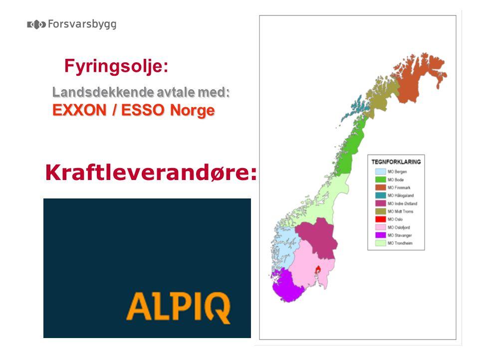 Fyringsolje: Landsdekkende avtale med: EXXON / ESSO Norge Kraftleverandøre: