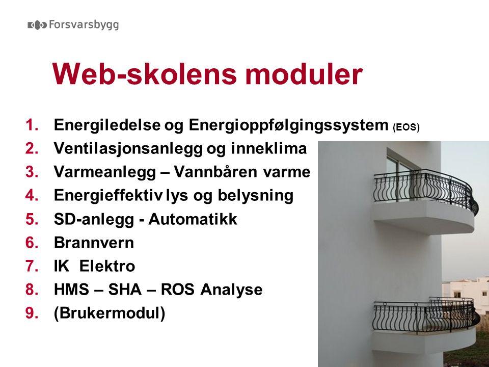 Web-skolens moduler 1.Energiledelse og Energioppfølgingssystem (EOS) 2.Ventilasjonsanlegg og inneklima 3.Varmeanlegg – Vannbåren varme 4.Energieffektiv lys og belysning 5.SD-anlegg - Automatikk 6.Brannvern 7.IK Elektro 8.HMS – SHA – ROS Analyse 9.(Brukermodul)