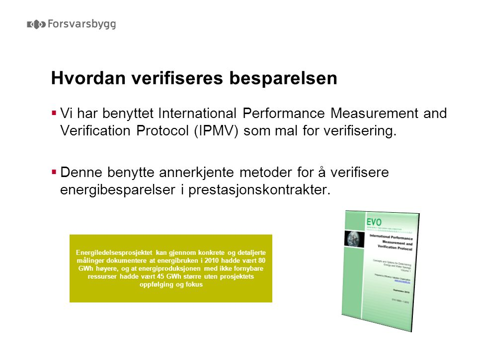 Hvordan verifiseres besparelsen  Vi har benyttet International Performance Measurement and Verification Protocol (IPMV) som mal for verifisering.