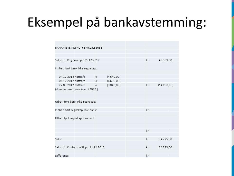 Eksempel på bankavstemming: BANKAVSTEMMING 6570.05.33683 Saldo ifl.