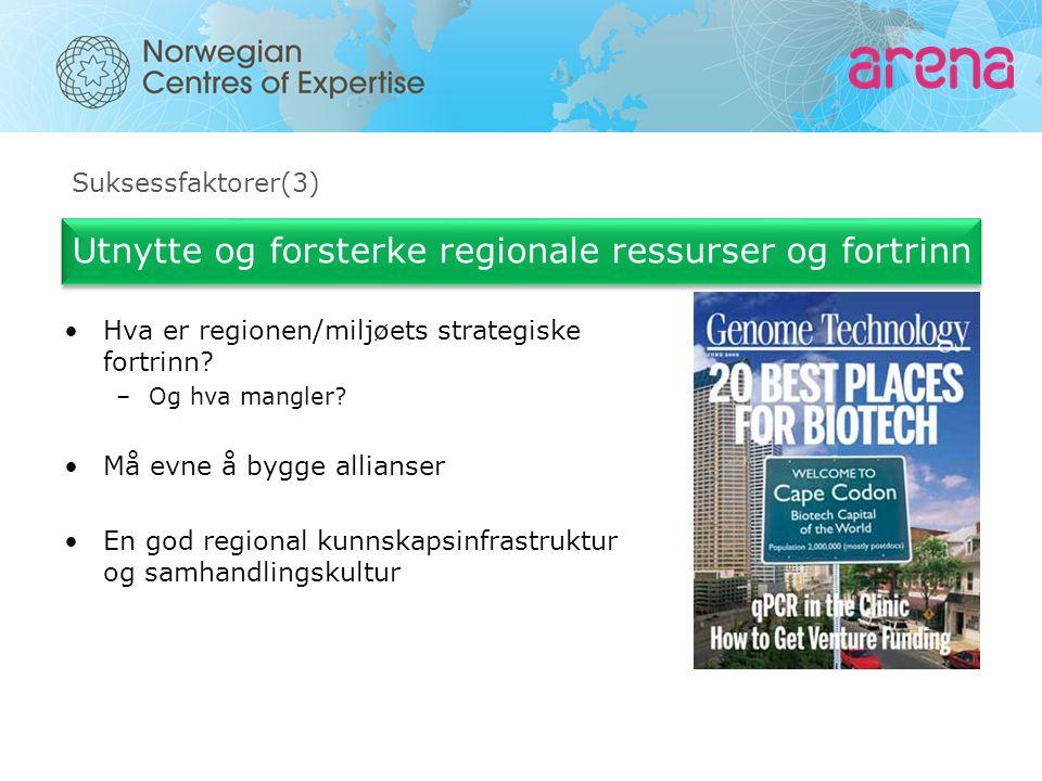 Suksessfaktorer(3) Utnytte og forsterke regionale ressurser og fortrinn Hva er regionen/miljøets strategiske fortrinn? –Og hva mangler? Må evne å bygg