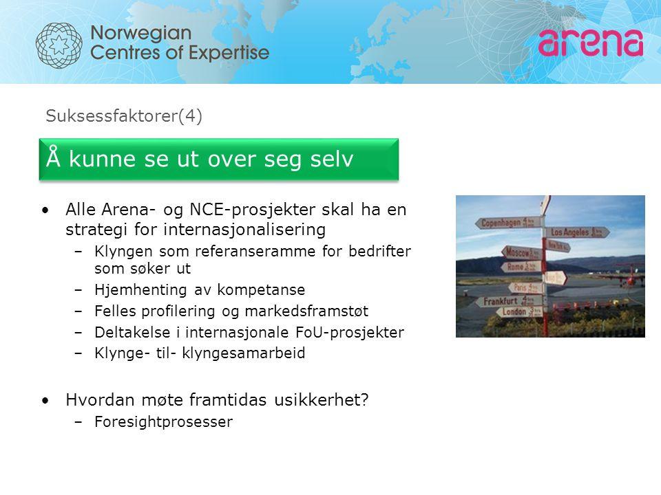 Suksessfaktorer(4) Å kunne se ut over seg selv Alle Arena- og NCE-prosjekter skal ha en strategi for internasjonalisering –Klyngen som referanseramme