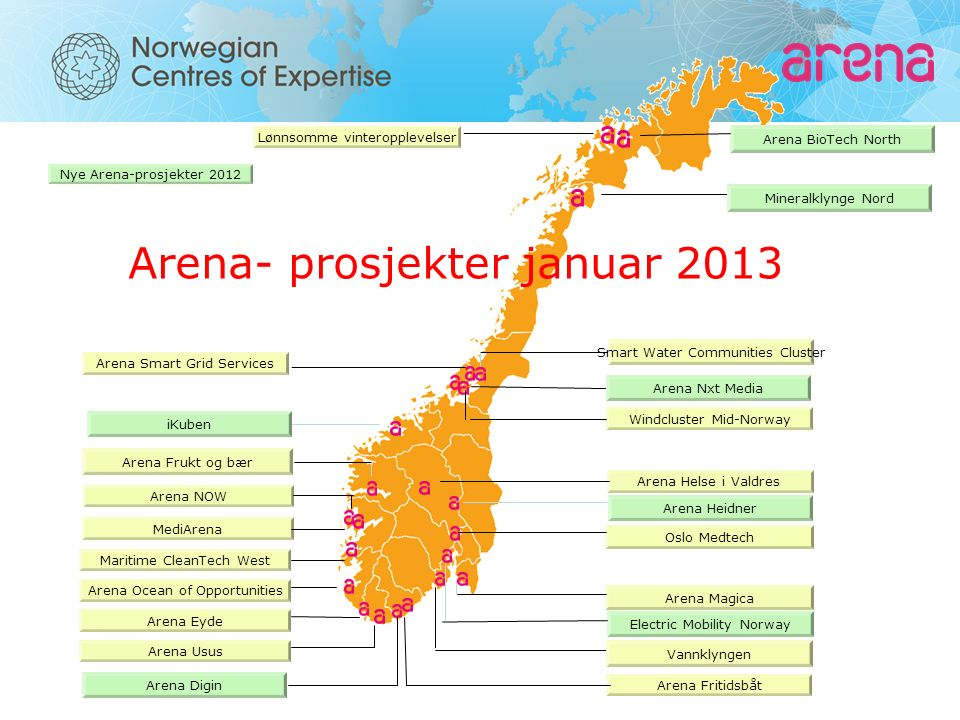 Arena Fritidsbåt Arena Magica MediArena Windcluster Mid-Norway Arena NOW Arena Eyde Oslo Medtech Arena- prosjekter januar 2013 Arena Helse i Valdres Arena Frukt og bær Arena Usus Lønnsomme vinteropplevelser Arena Ocean of Opportunities Maritime CleanTech West Vannklyngen Nye Arena-prosjekter 2012 Arena BioTech North Mineralklynge Nord Arena Smart Grid Services Arena Nxt Media Smart Water Communities Cluster Arena Digin iKuben Arena Heidner Electric Mobility Norway