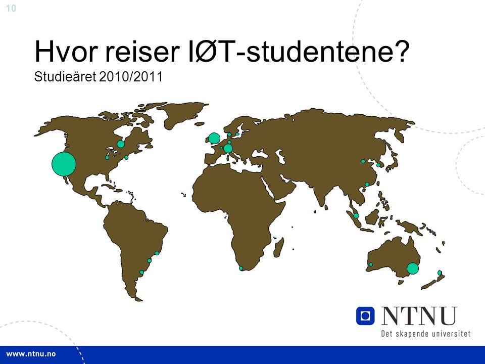 10 Hvor reiser IØT-studentene Studieåret 2010/2011