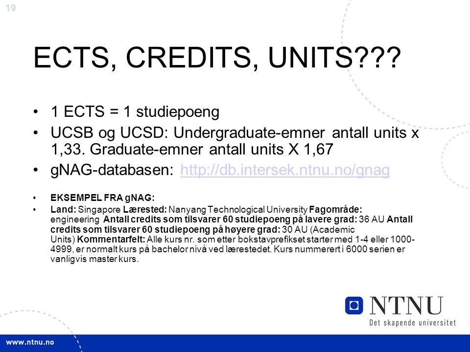 19 ECTS, CREDITS, UNITS .