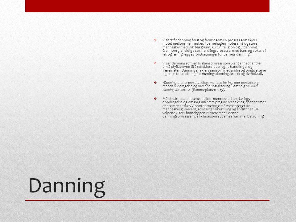 Danning  Vi forstår danning først og fremst som en prosess som skjer i møtet mellom mennesker.