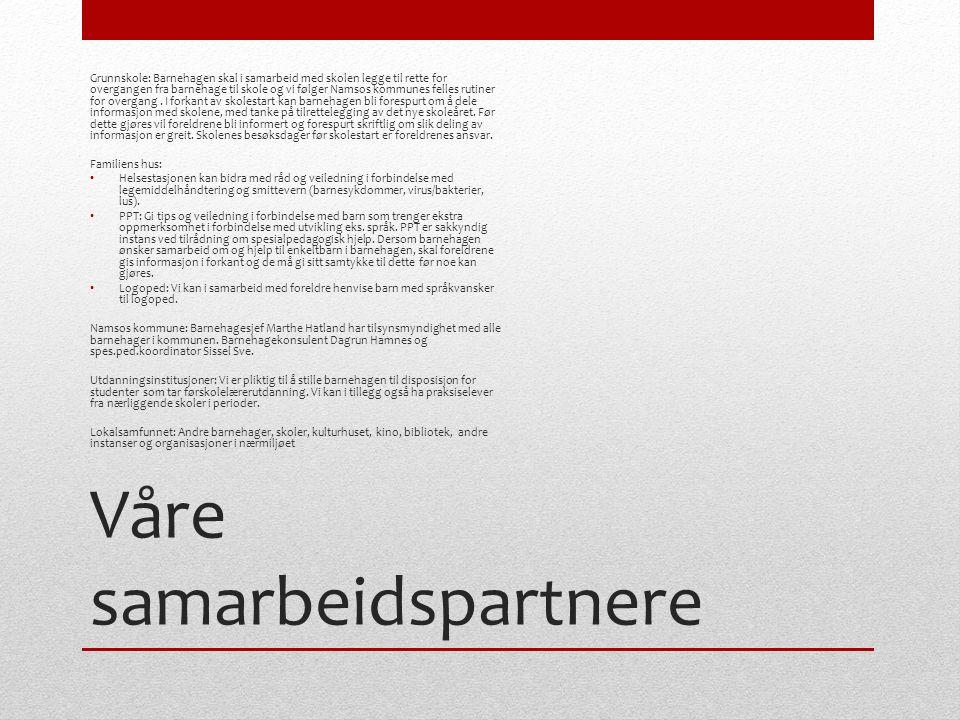 Våre samarbeidspartnere Grunnskole: Barnehagen skal i samarbeid med skolen legge til rette for overgangen fra barnehage til skole og vi følger Namsos kommunes felles rutiner for overgang.