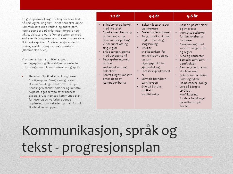 Kommunikasjon, språk og tekst - progresjonsplan En god språkutvikling er viktig for barn både på kort og på lang sikt. For at barn skal kunne kommunis