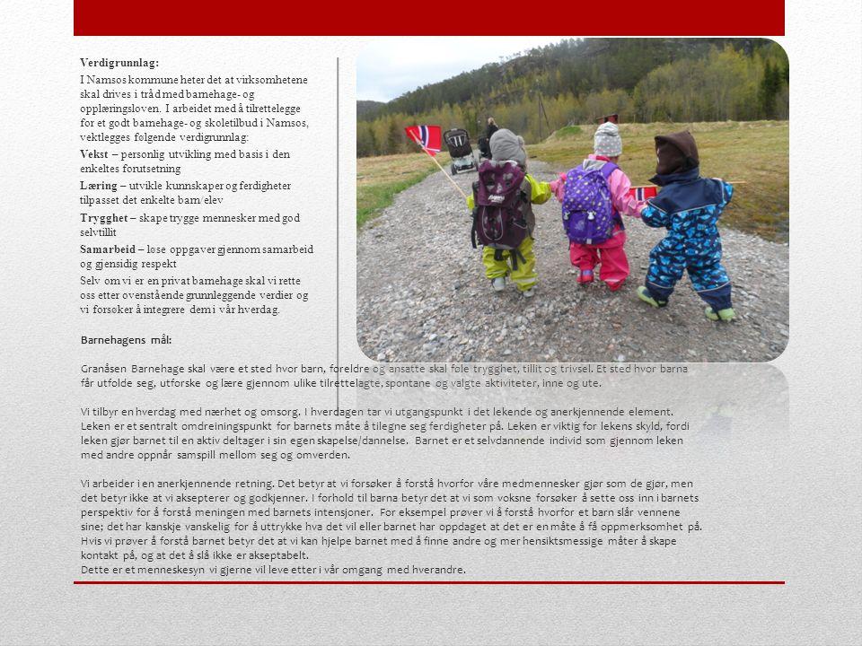 Barnehagens mål: Granåsen Barnehage skal være et sted hvor barn, foreldre og ansatte skal føle trygghet, tillit og trivsel.