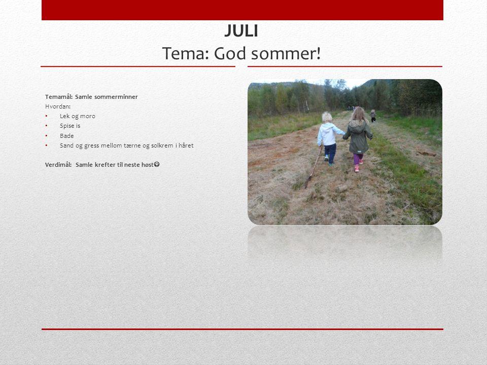 JULI Tema: God sommer.