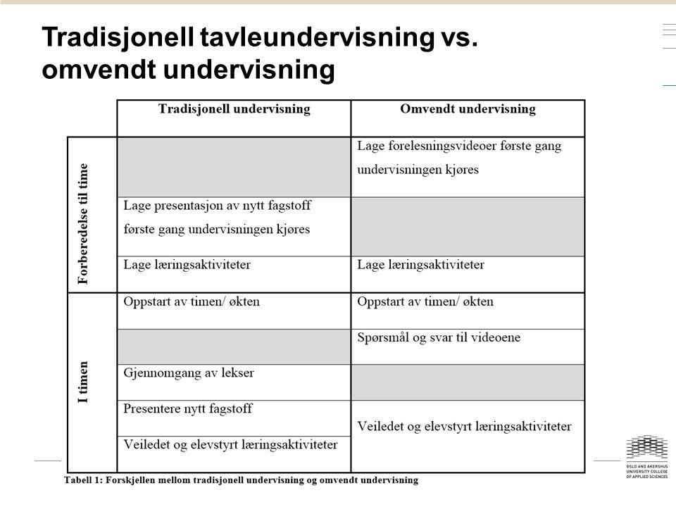 Tradisjonell tavleundervisning vs. omvendt undervisning