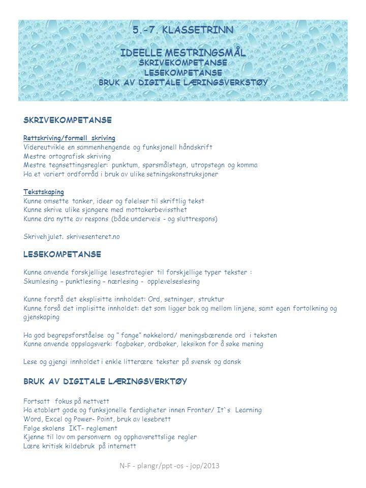 5.-7. KLASSETRINN IDEELLE MESTRINGSMÅL SKRIVEKOMPETANSE LESEKOMPETANSE BRUK AV DIGITALE LÆRINGSVERKSTØY SKRIVEKOMPETANSE Rettskriving/formell skriving