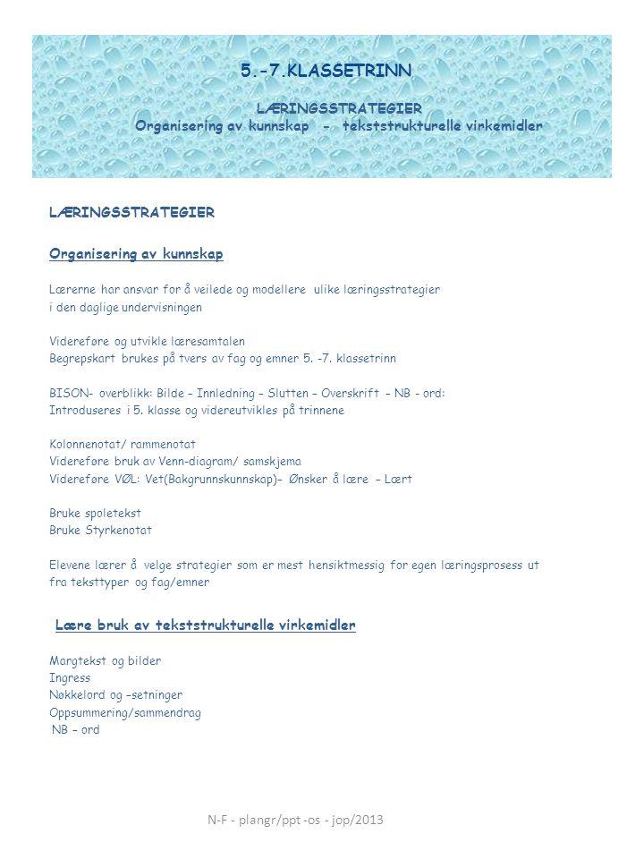 5.-7.KLASSETRINN LÆRINGSSTRATEGIER Organisering av kunnskap - tekststrukturelle virkemidler LÆRINGSSTRATEGIER Organisering av kunnskap Lærerne har ans