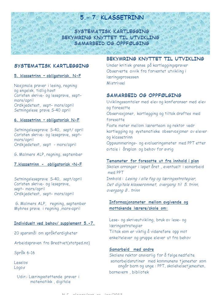 5.- 7. KLASSETRINN SYSTEMATISK KARTLEGGING BEKYMRING KNYTTET TIL UTVIKLING SAMARBEID OG OPPFØLGING SYSTEMATISK KARTLEGGING 5. klassetrinn – obligatori