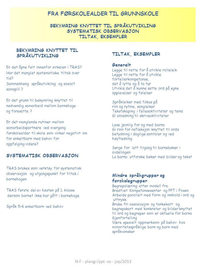 FRA FØRSKOLEALDER TIL GRUNNSKOLE BEKYMRING KNYTTET TIL SPRÅKUTVIKLING SYSTEMATISK OBSERVASJON TILTAK, EKSEMPLER BEKYMRING KNYTTET TIL SPRÅKUTVIKLING E