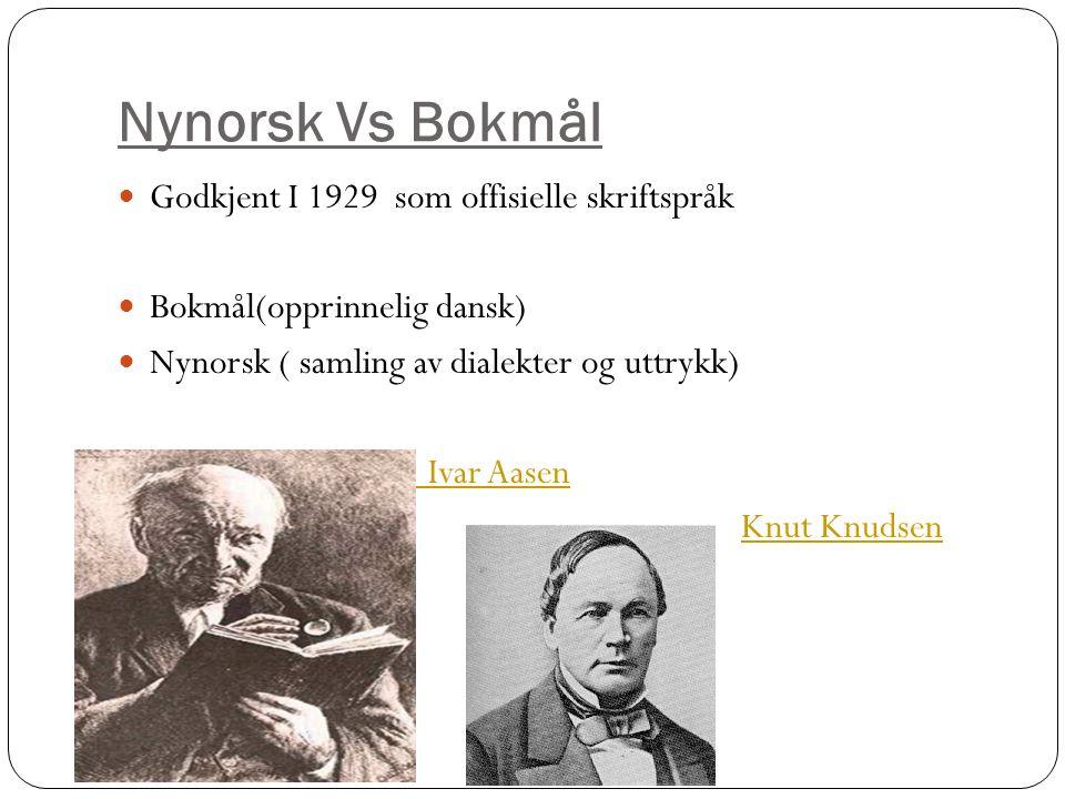 Nynorsk Vs Bokmål Godkjent I 1929 som offisielle skriftspråk Bokmål(opprinnelig dansk) Nynorsk ( samling av dialekter og uttrykk) Ivar Aasen Knut Knud