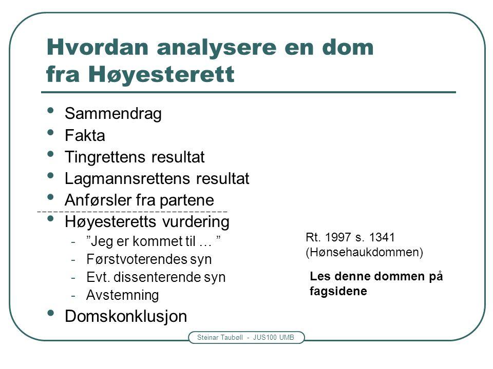 Steinar Taubøll - JUS100 UMB Hvordan analysere en dom fra Høyesterett Sammendrag Fakta Tingrettens resultat Lagmannsrettens resultat Anførsler fra partene Høyesteretts vurdering - Jeg er kommet til … -Førstvoterendes syn -Evt.