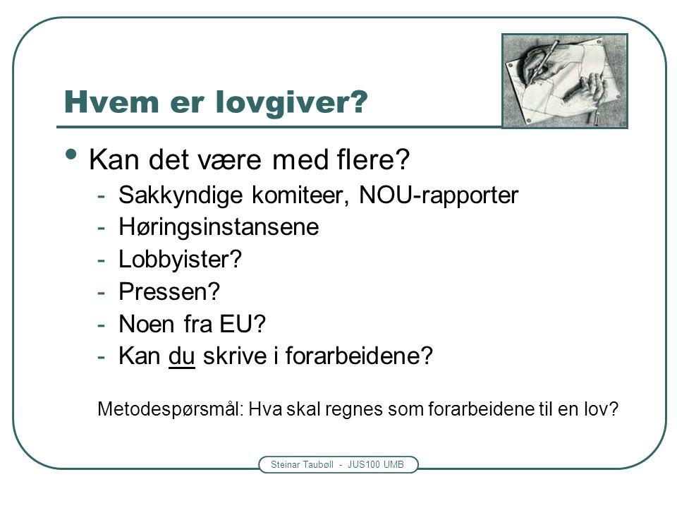 Steinar Taubøll - JUS100 UMB Hvem er lovgiver. Kan det være med flere.