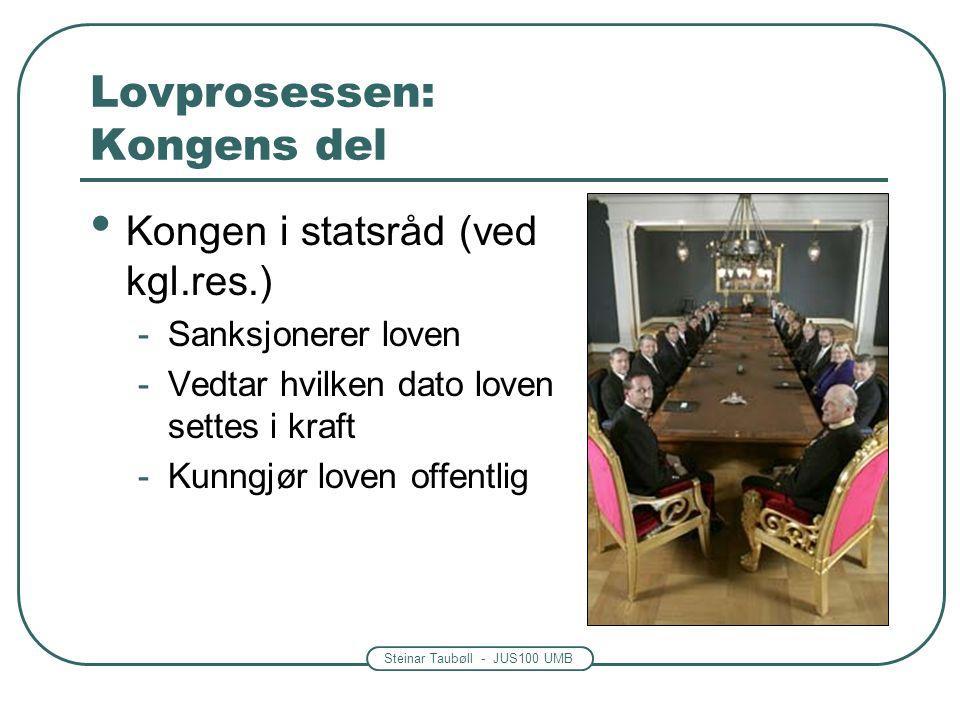 Steinar Taubøll - JUS100 UMB Lovprosessen: Kongens del Kongen i statsråd (ved kgl.res.) -Sanksjonerer loven -Vedtar hvilken dato loven settes i kraft -Kunngjør loven offentlig