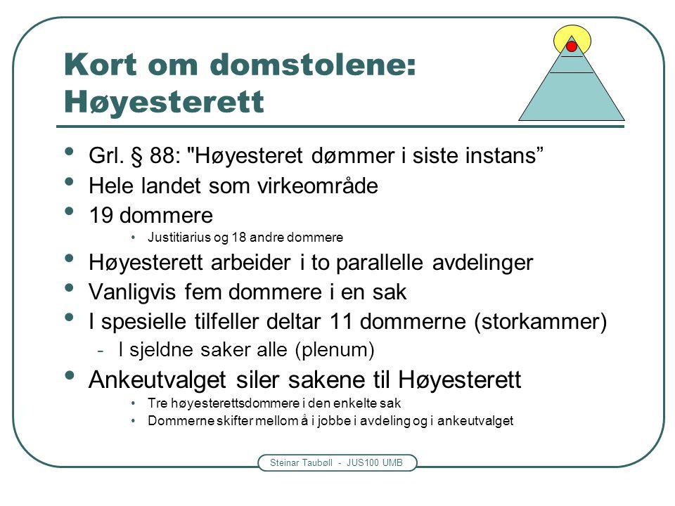 Steinar Taubøll - JUS100 UMB Kort om domstolene: Høyesterett Grl.