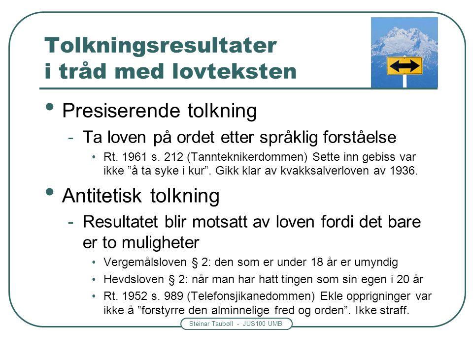 Steinar Taubøll - JUS100 UMB Tolkningsresultater i tråd med lovteksten Presiserende tolkning -Ta loven på ordet etter språklig forståelse Rt.