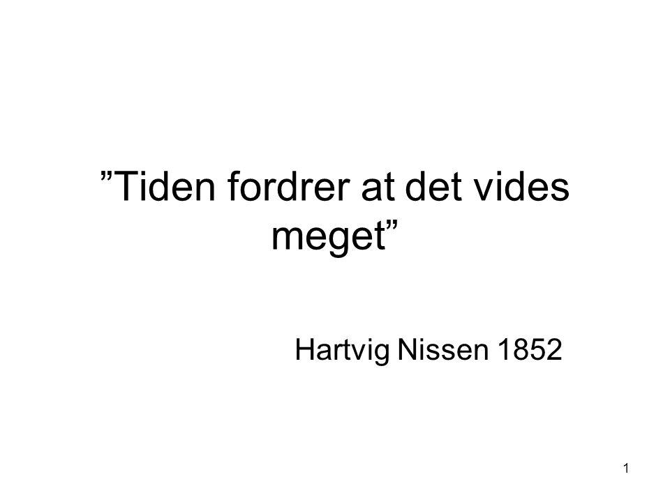 """1 """"Tiden fordrer at det vides meget"""" Hartvig Nissen 1852"""