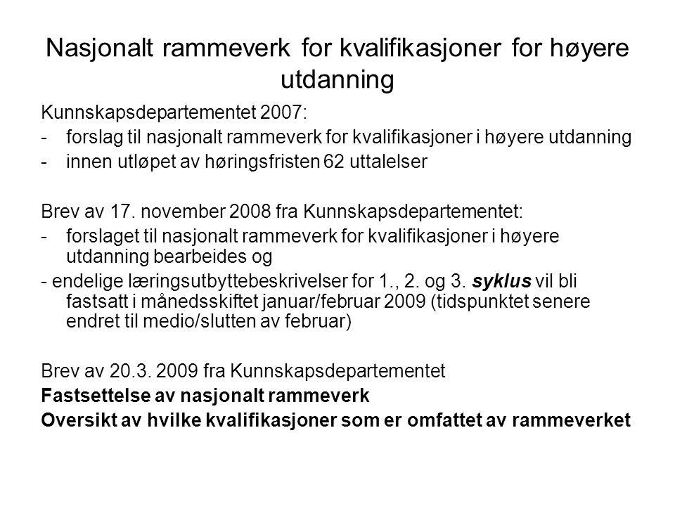 Nasjonalt rammeverk for kvalifikasjoner for høyere utdanning Kunnskapsdepartementet 2007: -forslag til nasjonalt rammeverk for kvalifikasjoner i høyer