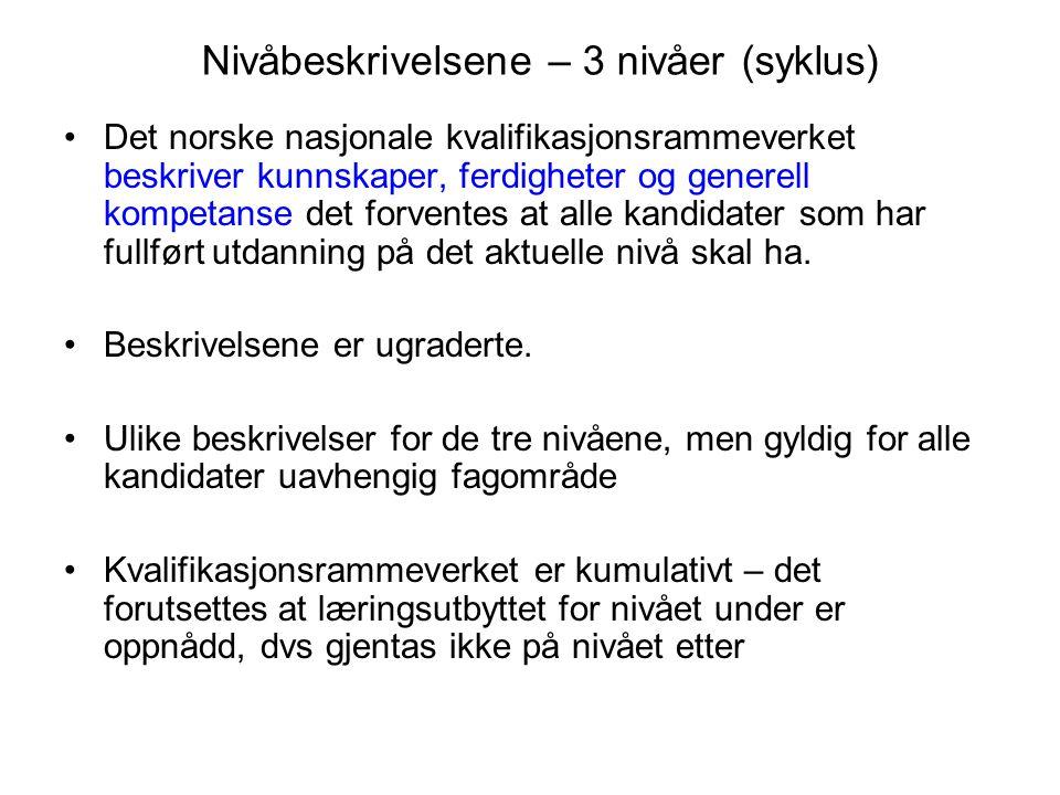 Nivåbeskrivelsene – 3 nivåer (syklus) Det norske nasjonale kvalifikasjonsrammeverket beskriver kunnskaper, ferdigheter og generell kompetanse det forv