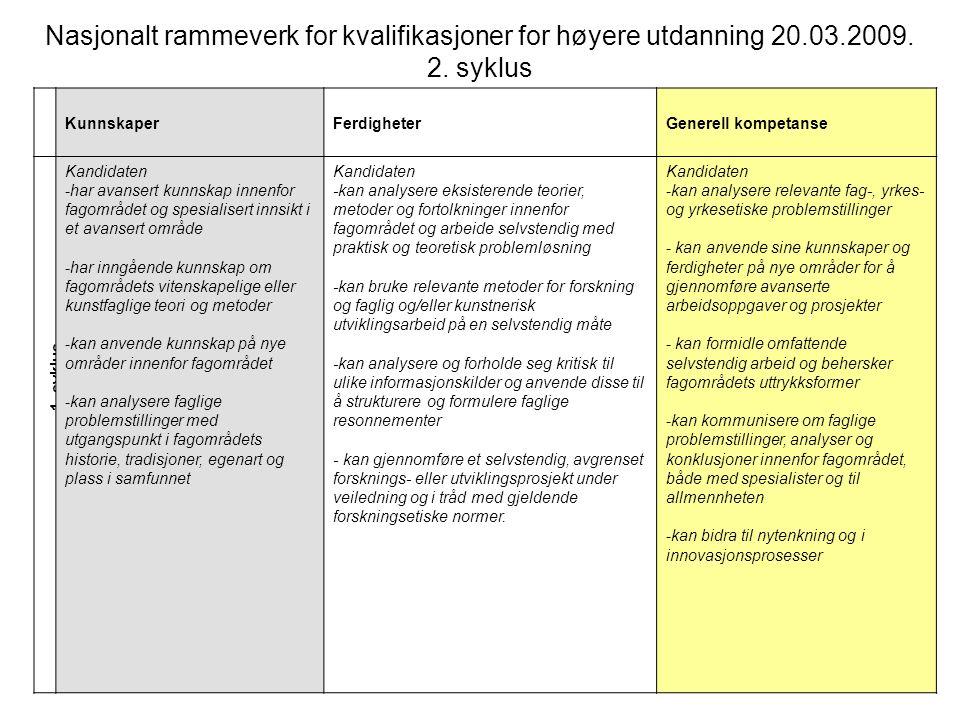1. syklus Nasjonalt rammeverk for kvalifikasjoner for høyere utdanning 20.03.2009. 2. syklus KunnskaperFerdigheterGenerell kompetanse Kandidaten -har