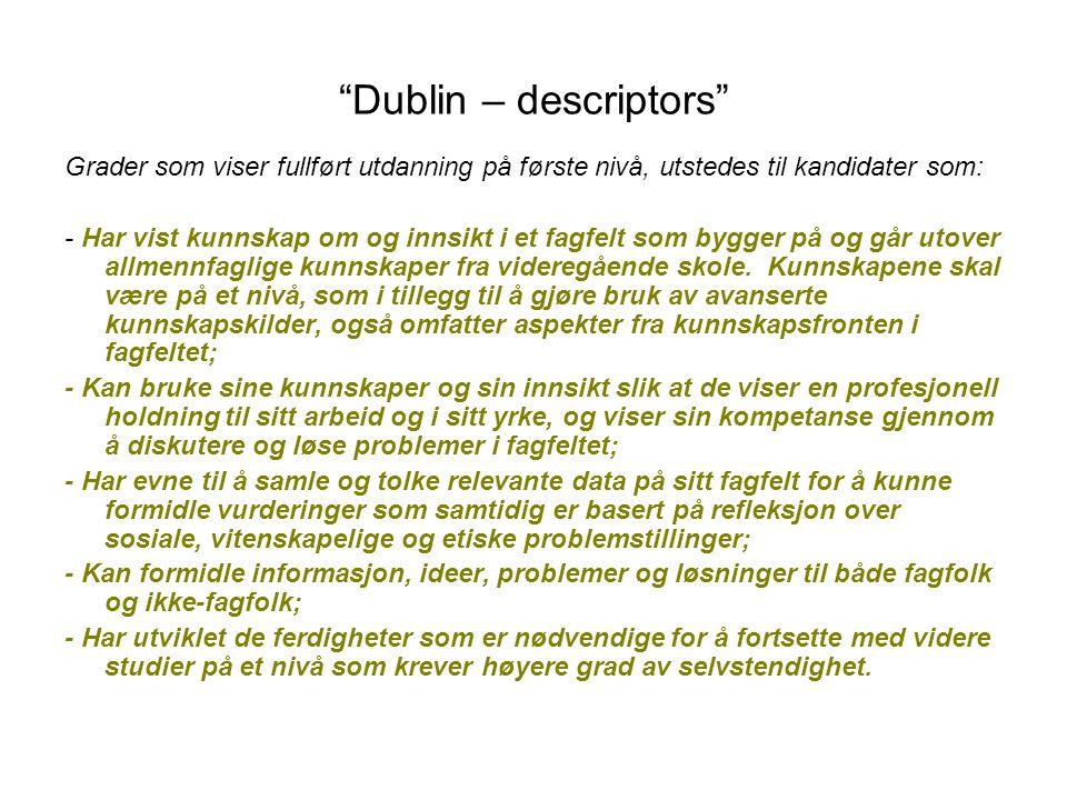 """""""Dublin – descriptors"""" Grader som viser fullført utdanning på første nivå, utstedes til kandidater som: - Har vist kunnskap om og innsikt i et fagfelt"""