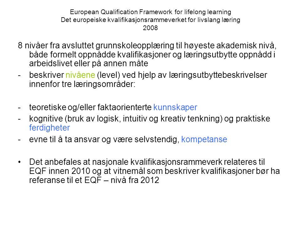 European Qualification Framework for lifelong learning Det europeiske kvalifikasjonsrammeverket for livslang læring 2008 8 nivåer fra avsluttet grunns